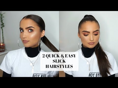 My Go To QUICK & EASY SLICK HAIRSTYLES- LOW & HIGH PONYTAIL | Adina May