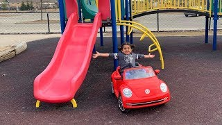 Sally Drive power wheels car to Outdoor Playground!! family fun time