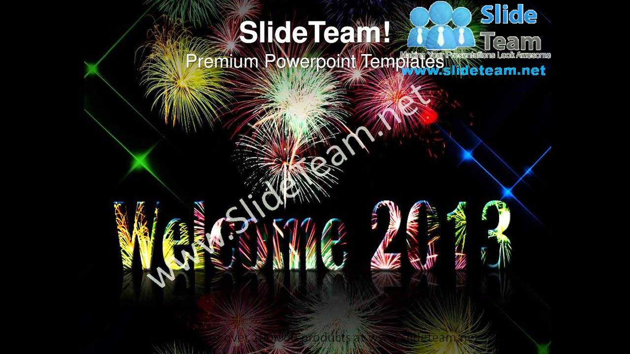 fireworks to welcome new year powerpoint templates ppt background 1112 slides backgrounds