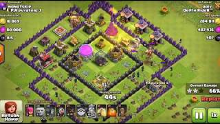 Clash of clans town hall 8 attack how to attack with giants an wizard
