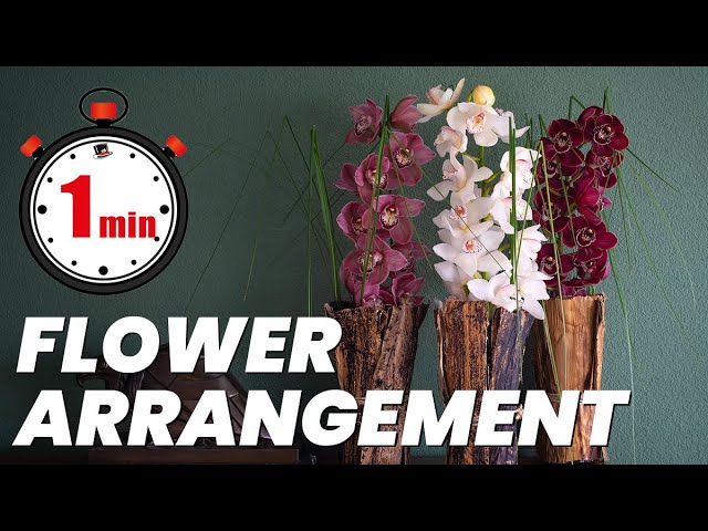 1 minute tutorial: Tropical Orchid Forest | How to make a Cymbidium flower arrangement