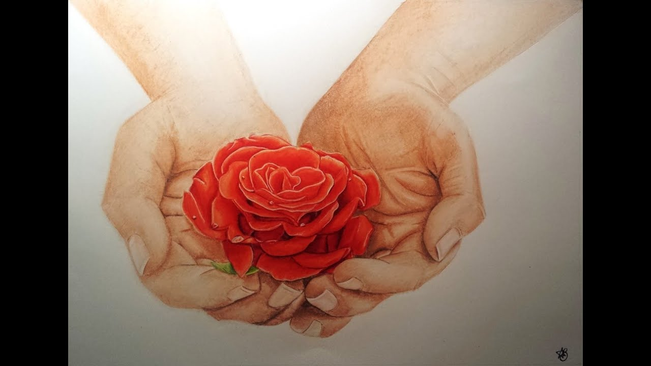 2 hands holding flowers drawing