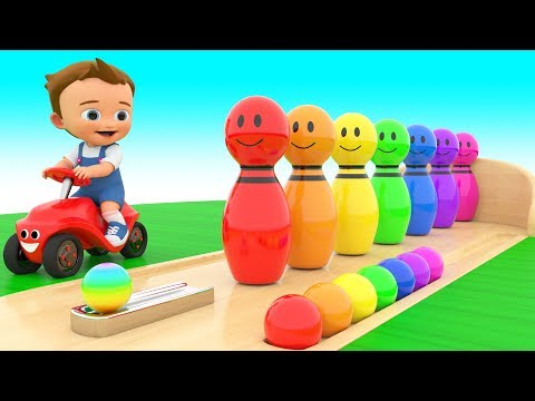 Bowling Alley Color Pins Toys 3D | Learning Colors with Baby