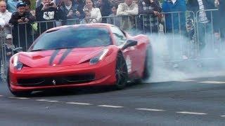 Ferrari 458 Italia CRAZY Burnout. Loud Sound. GT Polonia 2013
