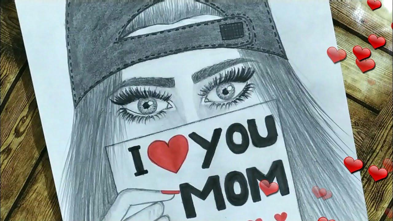 رسم بنات كيوت رسم بنات سهل رسم بنات رسم بنت كيوت تحمل رسالة حب
