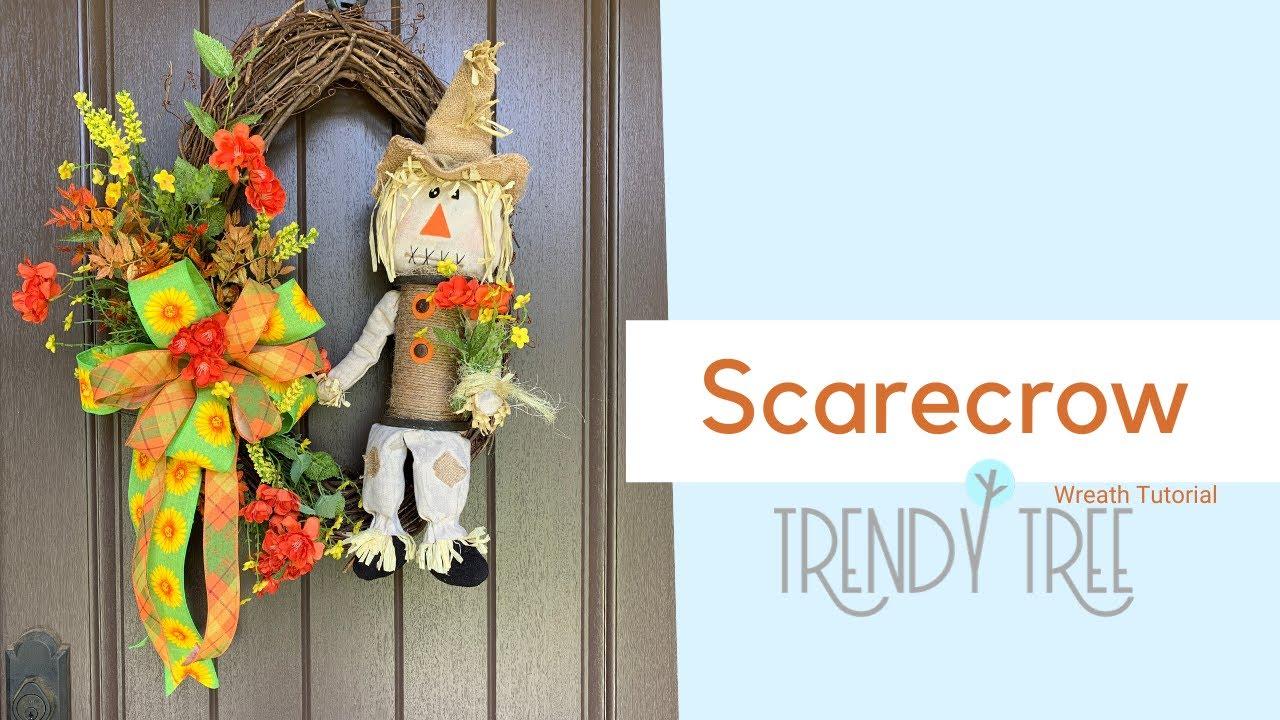 scarecrow grapevine wreath tutorial by trendy tree