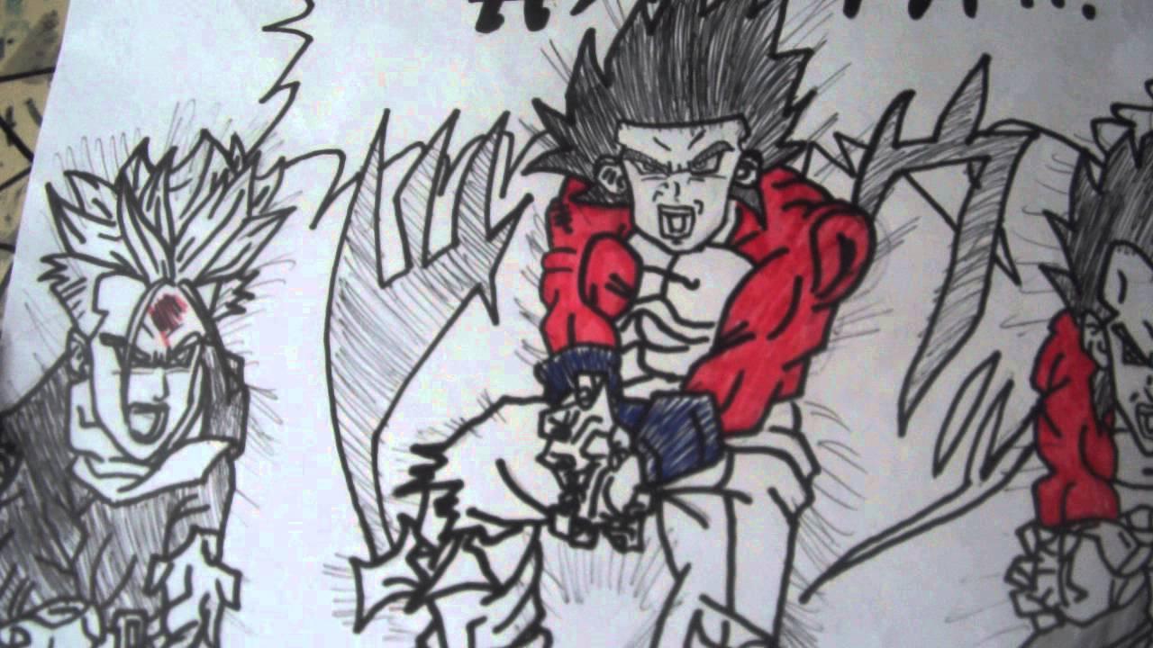 desenho gohan ssj4 vegeta ssj4 e trunks ssj   youtube