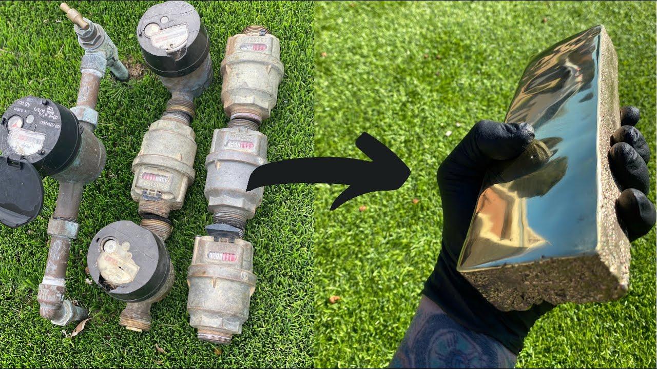 Water Meter Melt Down - Trash To Treasure - ASMR Metal Melting - 16 LBS Brass Melt - BigStackD