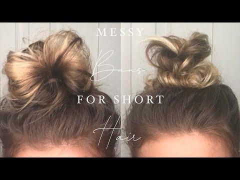 messy-bun-tutorials-for-short-hair-|-shoulder-length-hair-bun