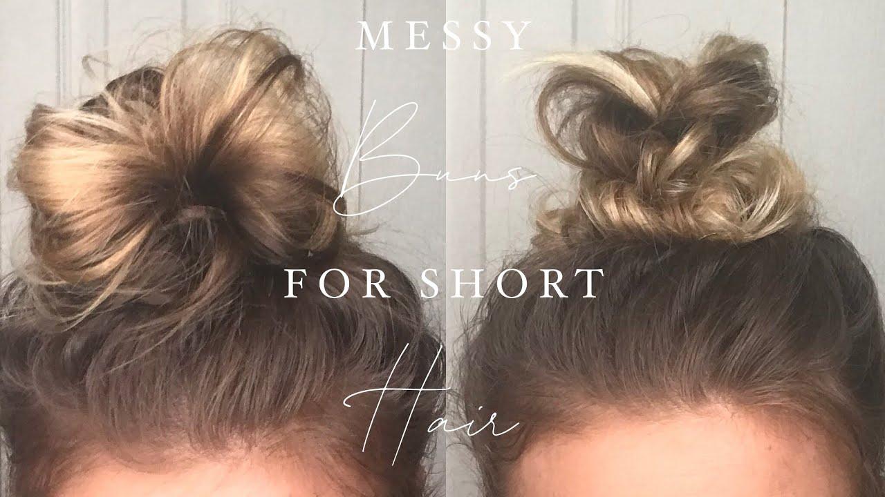 Messy Bun Tutorials For Short Hair Shoulder Length Hair Bun Youtube