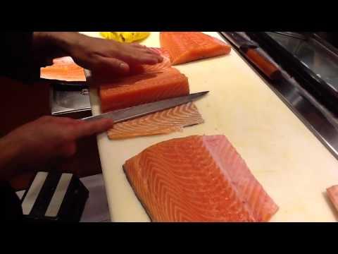 Corte Japonés y preparación del salmón para sushi y sashimi