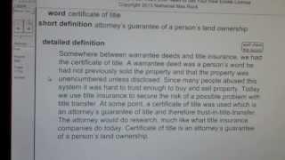 certificate of title CA Real Estate License Exam Top Pass Words VocabUBee.com