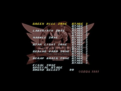 Image result for Sonic The Hedgehog 1991 Level Select