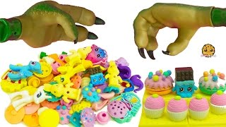 Bergen Attack At Shopkins Small Mart Store Destroys Food Puzzle Erasers with Trolls, My Little Pony
