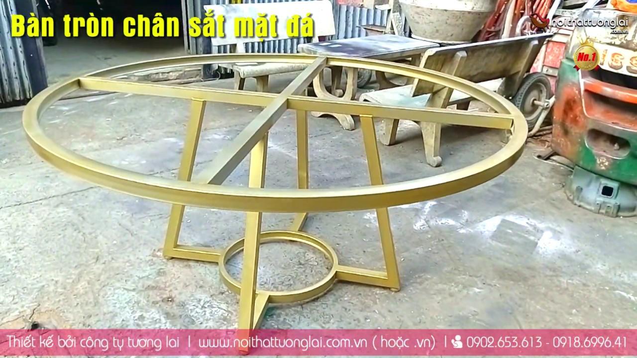Chân sắt bàn ăn kiểu mặt đá marble tròn cao cấp