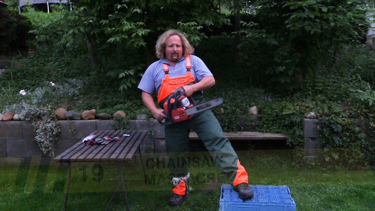 Behold Chainsaw Proof Pants In Action Youtube No Disassemble Chainsawsuit Three Panels Daily