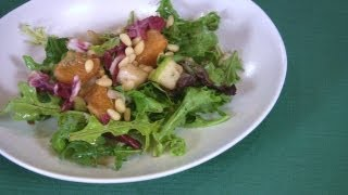 Salad Of Spicy Greens With Fruit And Pine Nuts