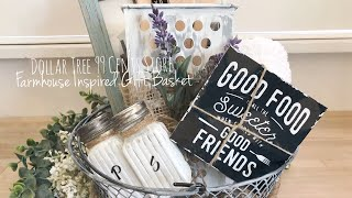 Simple DIY Farmhouse Inspired Gift Basket Dollar Tree 99 cent's store Mother's Day Gift