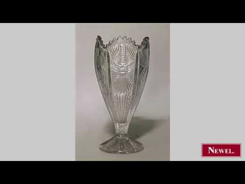 Antique English Victorian cut crystal oval shaped vase
