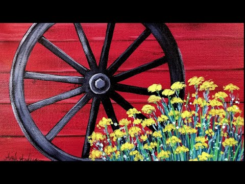 Easy Beginner Acrylic Painting Rustic Wagon Wheel With