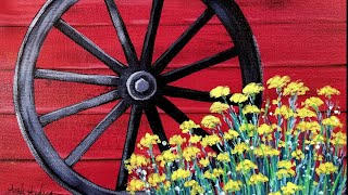 Easy Beginner Acrylic Painting Rustic Wagon Wheel with Flowers LIVE Tutorial thumbnail