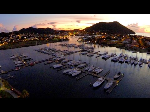 """AERIAL Scenes from our new """"Mariner"""" WATERPROOF DRONE in Rodney Bay Marina, St Lucia, CARIBBEAN!"""