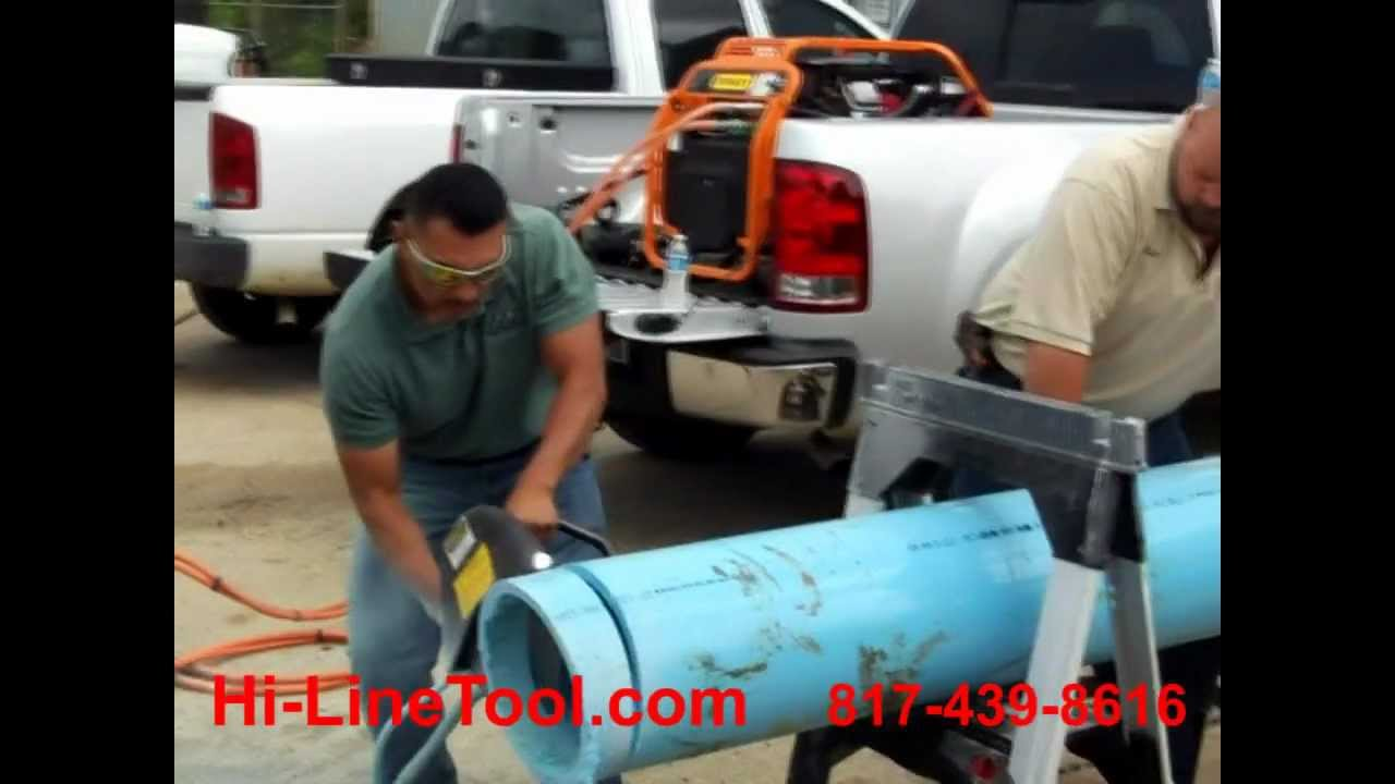 Stanley CO25 Hydraulic Saw Cutting PVC Pipe - YouTube