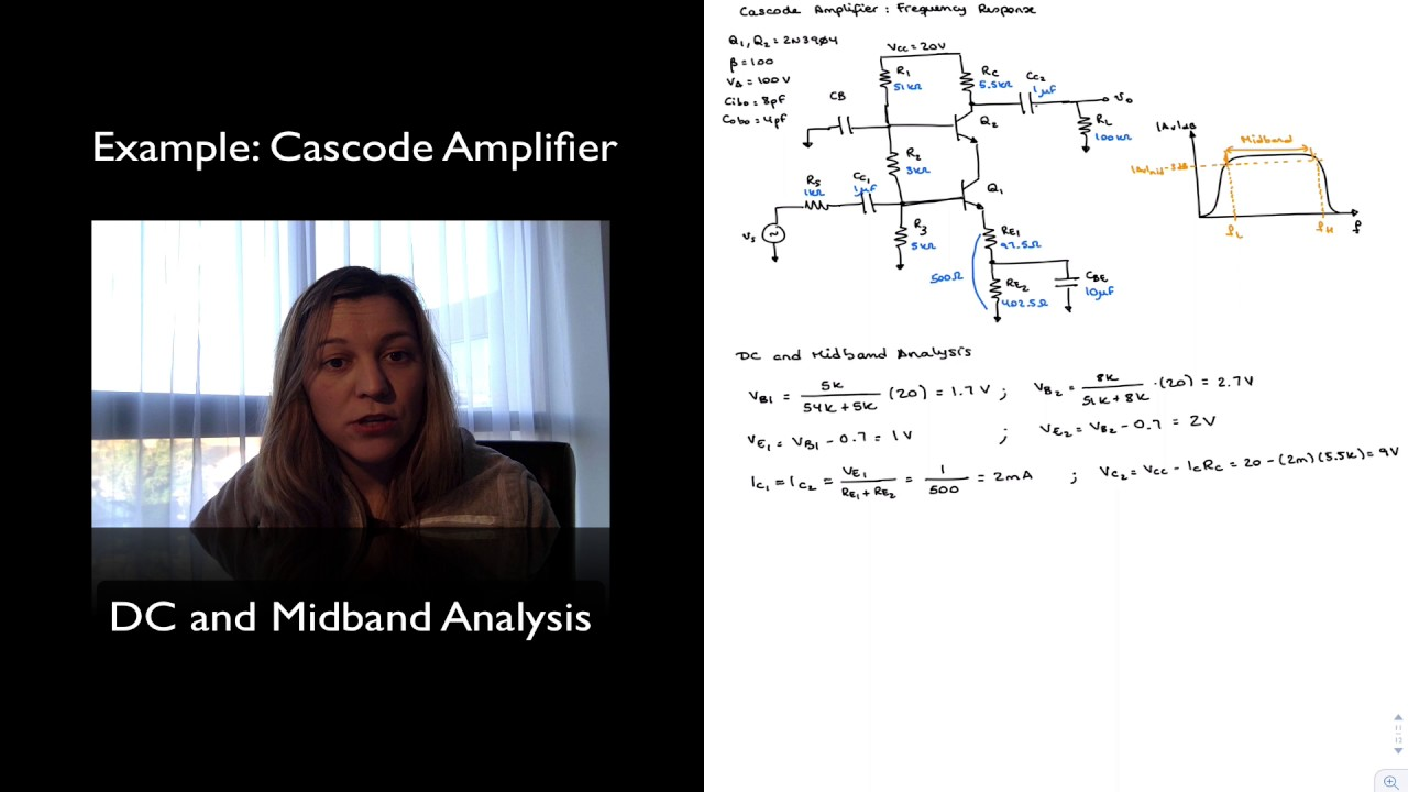 Example Cascode Amplifier Dc And Midband Analysis Youtube Ac Transistor Circuit Of The Mid Frequency Response