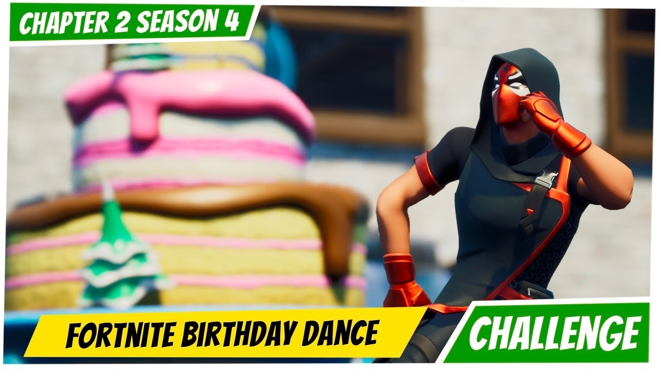 Fortnite Challenges Guide Dance In Front Of Different Birthday Cakes Youtube