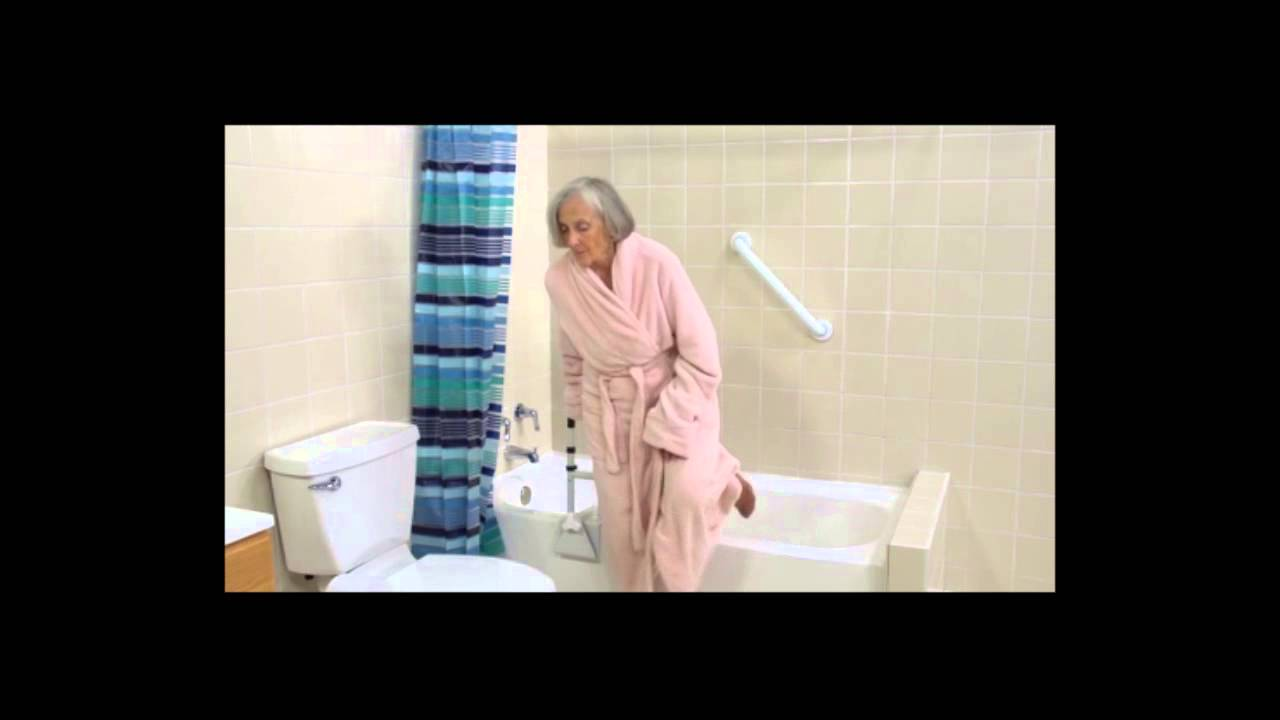 Adjustable Height Bathtub Grab Bar Safety Rail - YouTube