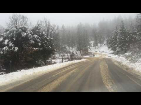 Snow on Elk Mountain Road in Lake County