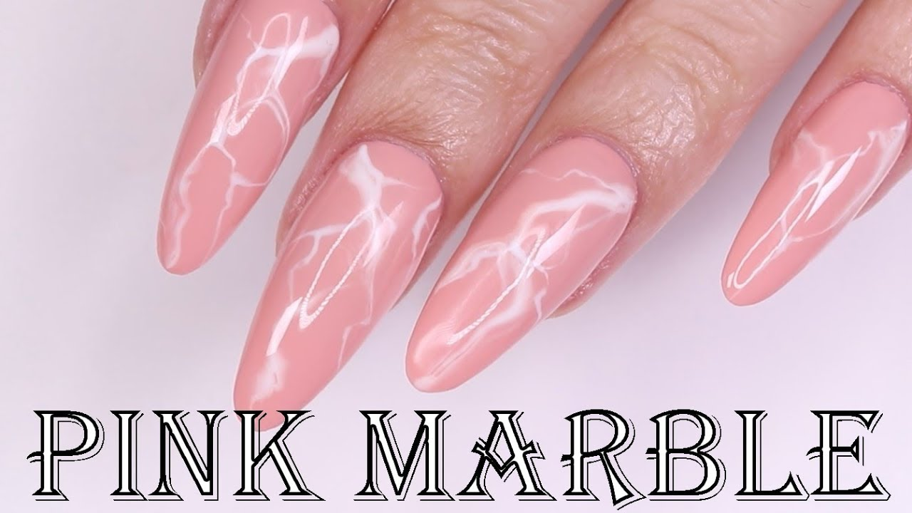 Pink Marble Nails with Madam Glam Products