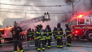 FDNY BOX 3072 - FDNY BATTLING A 7TH ALARM FIRE ON COMMONWEALTH AVENUE IN THE BRONX.