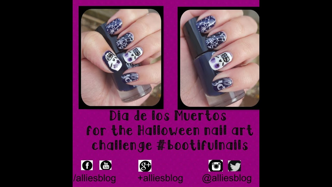Dia de los muertos nails for Halloween Nail art challenge using ...
