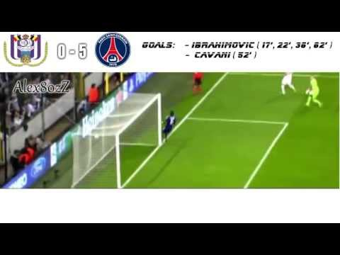 4 goals Zlatan Ibrahimovic!!! Fantastic match!!! PSGvs Anderlecht HD