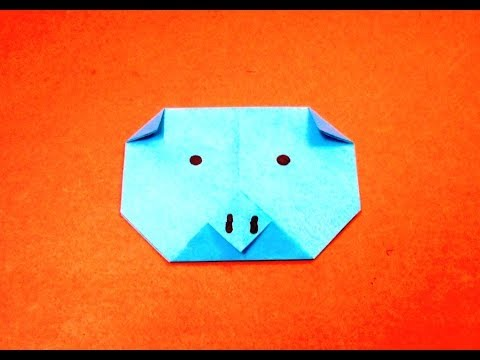 How to make an origami pig face step by step.