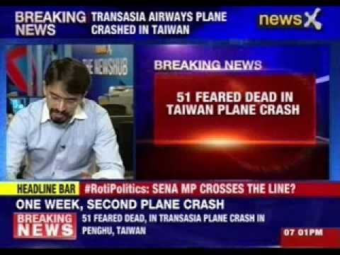45 feared dead, 9 injured in Taiwan plane crash