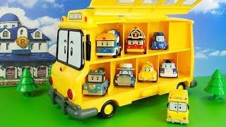 Великий Жовтий автобус Скулби з мультика Робокар Полі. Гараж для машинок. Robocar Poli 애니메이션 영화