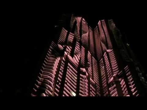 Dramatic nighttime lighting at New York by Gehry / 8 Spruce Street