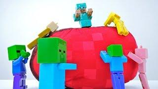 Добываем еду со Стивом. Видео про игрушки Лего Майнкрафт.