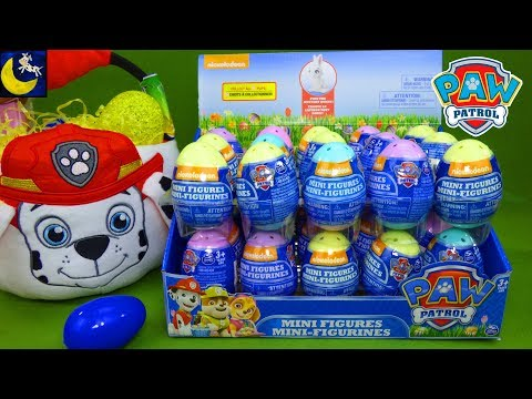 LOTS of Paw Patrol Surprise Eggs Toys Easter Basket Mini Figures Blind Bags Marshall Chase Skye Toys