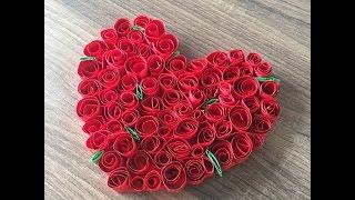 DIY Rosenherz basteln, für Valentinstag oder Muttertag ein Herz basteln