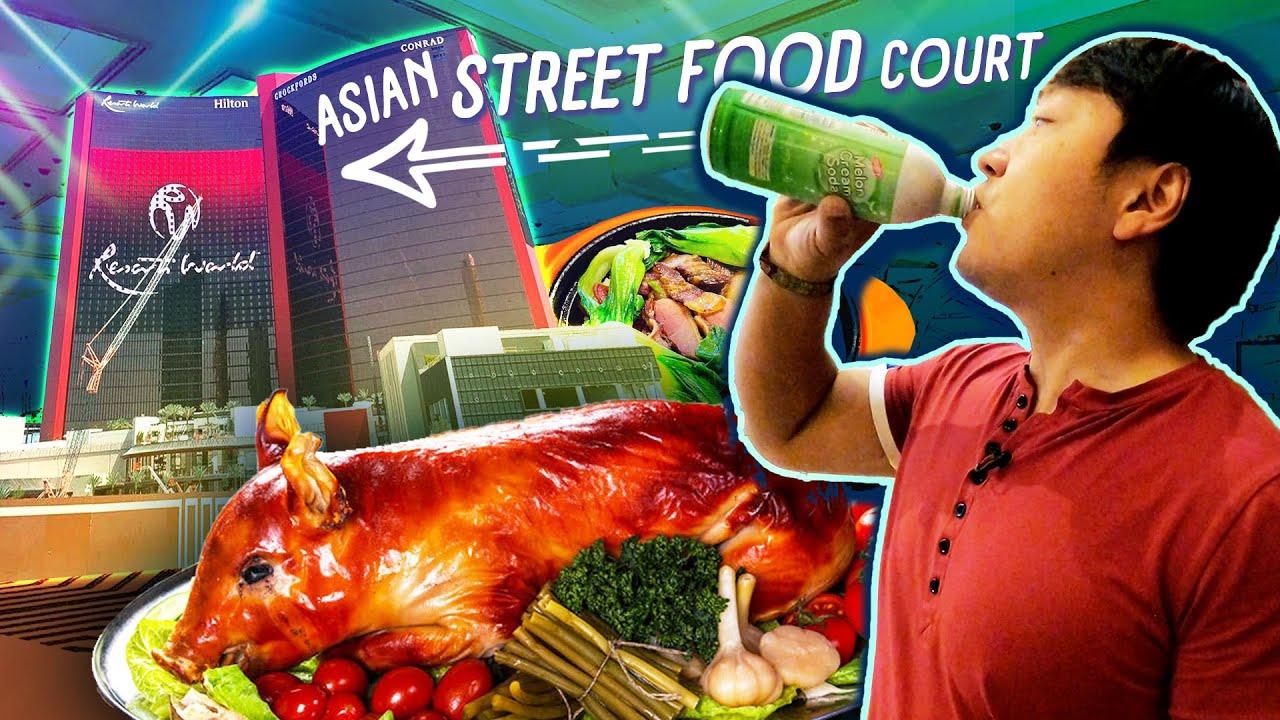 NEW Las Vegas ASIAN STREET FOOD COURT Tour at Resort World | LECHON DIVA!