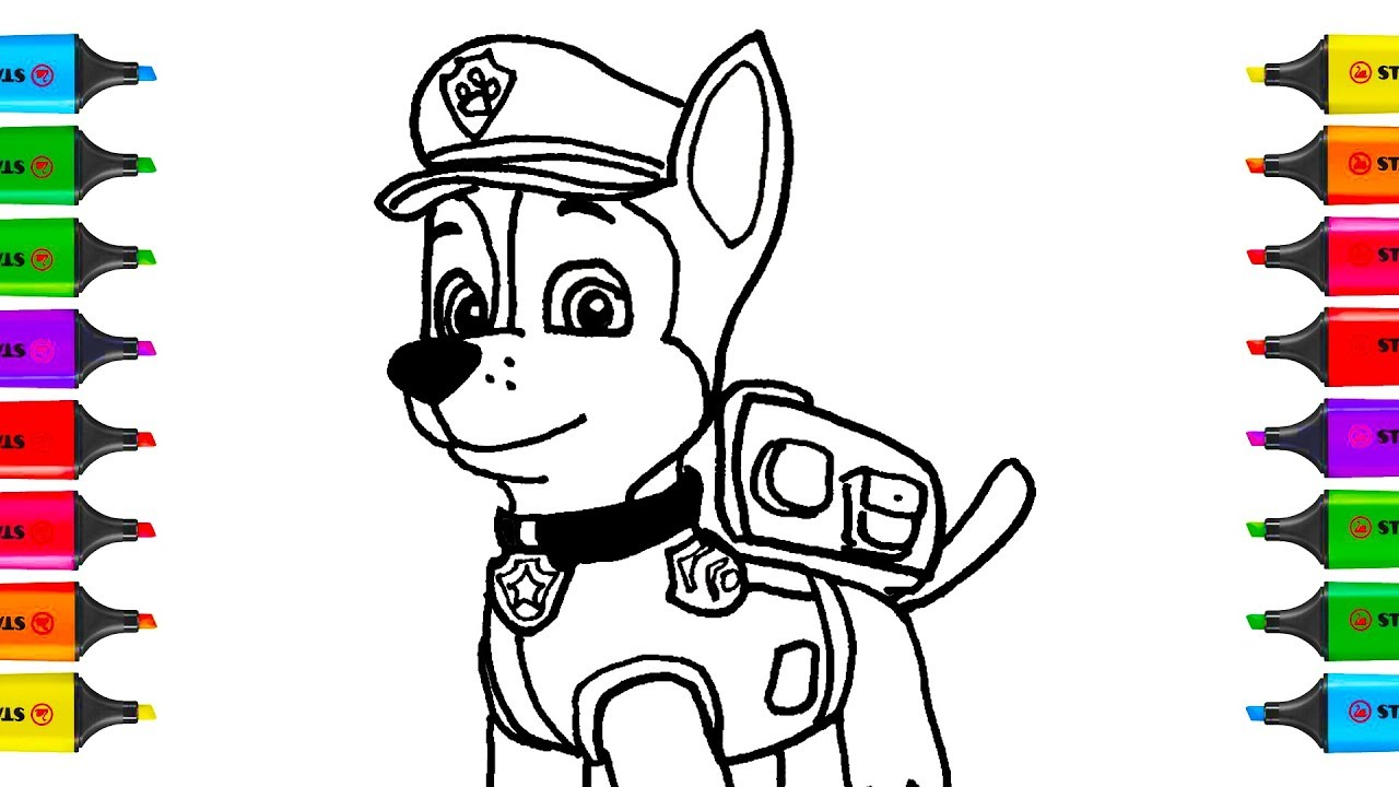 How To Draw Paw Patrol Chase Coloring Pages Kit Toys For