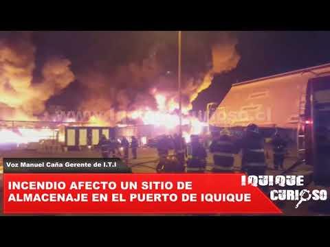 Incendio afecto un sitio de almacenaje en el puerto de iquique