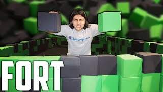 DO NOT MAKE A FOAM PIT FORT | *THIS IS WHY* |  24 HOUR OVERNIGHT CHALLENGE IN A FOAM PIT FORT!
