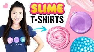 How To Paint Slimes!! My New T-SHIRTS Featuring DIY Fluffy Slime, Clear Slime and Floam!