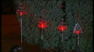 Set Of 4 Solar Powered Led Christmas Tree Colour Changing Outdoor Decorations.