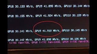 41.9MH/s with an XFX RX 580 mining ETH - 11 GPU Mining Rig