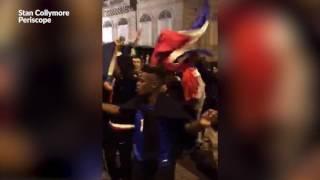 Après France - Islande, la folie sur les Champs-Elysées
